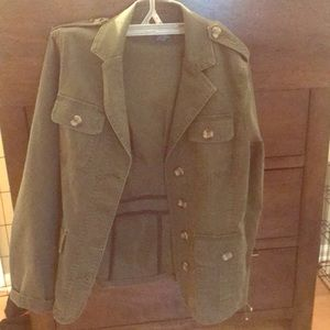 Green military style jacket.